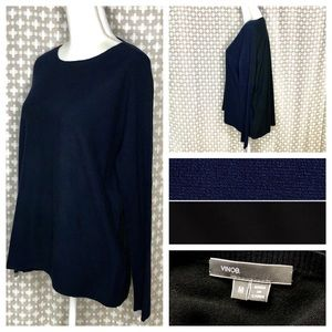 VINCE 100% Cashmere Navy Black Color-Block Sweater